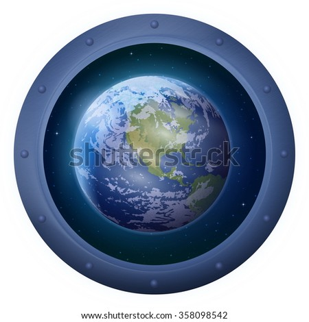 Space Ship Round Window Porthole with Planet Earth and Stars, Isolated. Elements of this Image Furnished by NASA - stock photo