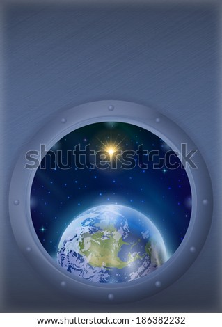 Space ship round window porthole with planet Earth, sun and stars on the wall with place for text. Elements of this image furnished by NASA (www.visibleearth.nasa.gov). - stock photo