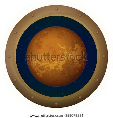 Space Ship Round Window Porthole with Planet Venus and Stars, Isolated. Elements of this Image Furnished by NASA - stock photo