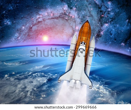 Space ship shuttle rocket launch spaceship Earth outer power orbit. Elements of this image furnished by NASA. - stock photo