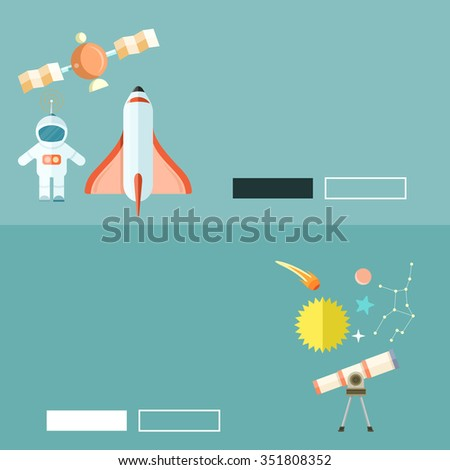 Space shuttle and astronomy web page. Spaceship and space shuttle launch, astronaut and rocket, space station, astrology and star, telescope and galaxy, constellation and science illustration - stock photo