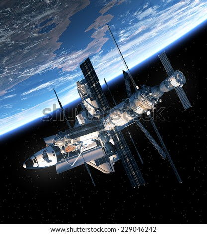 Space Shuttle And Space Station Orbiting Earth. 3D Scene. Elements of this image furnished by NASA.  - stock photo