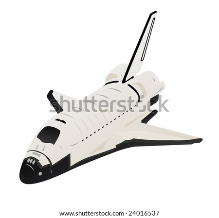 Space Shuttle 3d View over White - stock photo