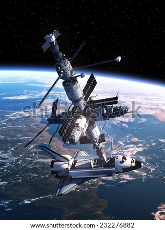 Space Shuttle Docking With Space Station. 3D Scene. Elements of this image furnished by NASA.  - stock photo