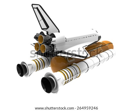 Space Shuttle isolated on white - stock photo