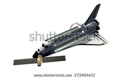 Space Shuttle Isolated on white background - stock photo