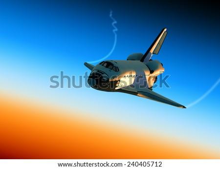 Space Shuttle Landing. 3D Scene. - stock photo