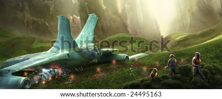 Space shuttle on a wild planet - stock photo