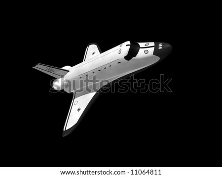 Space shuttle on black background flying right