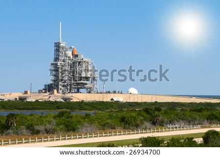 space shuttle on launch platform - stock photo