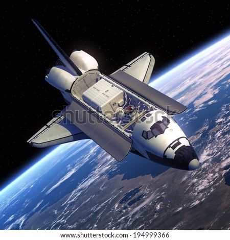 Space Shuttle Orbiter. 3D Scene. Elements of this image furnished by NASA.  - stock photo