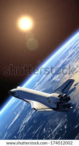 Space shuttle orbiting earth. 3D Model. Elements of this image furnished by NASA.  - stock photo