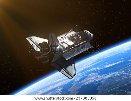 Space Shuttle Orbiting Earth. 3D Scene. - stock photo