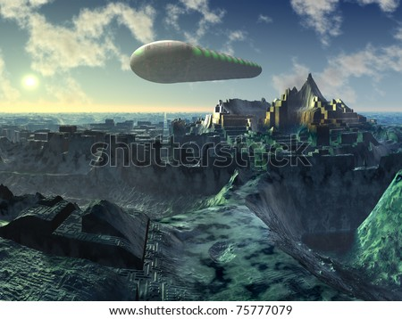 Space Shuttle over Alien City Ruins - stock photo