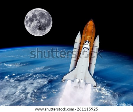 Space Shuttle Rocket Launch Earth Spaceship Stock Photo ...