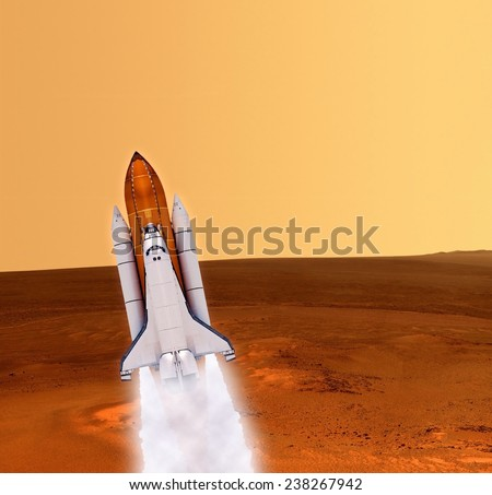 Space shuttle rocket launch planet spaceship Mars. Elements of this image furnished by NASA. - stock photo