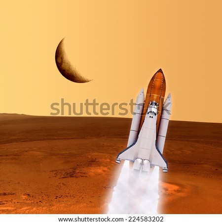 Space shuttle rocket planet spaceship Mars. Elements of this image furnished by NASA. - stock photo