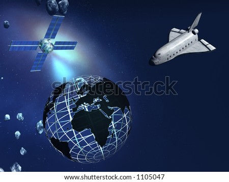 Space shuttle,  satellite connections worldwide.  Communication, exploration   illustration concept