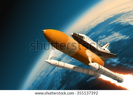 Space Shuttle Solid Rocket Boosters Separation In Stratosphere. 3D Scene.  - stock photo