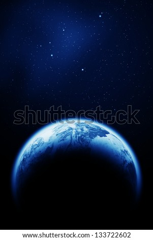 Space sky above the Earth planet. The Earth texture of this image furnished by NASA. (http://visibleearth.nasa.gov/view.php?id=57735) - stock photo