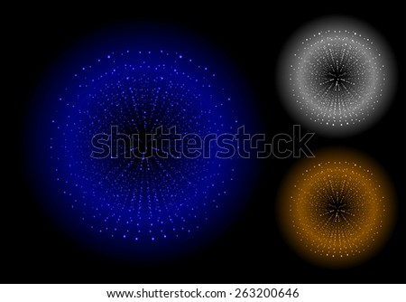 Space sparks spray shiny explosions set. Blue, silver, bronze color. Raster clip art isolated on black - stock photo