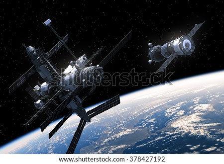 Space Station And Spacecraft In Space. 3D Scene. - stock photo