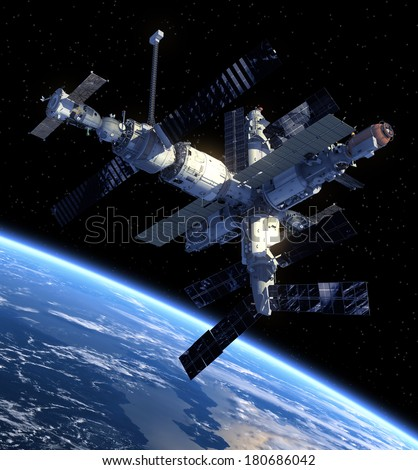 Space Station. 3D Scene. Elements of this image furnished by NASA.  - stock photo