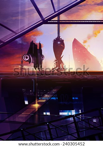 Space station. Illustrated scifi space ship station with led lights and towers artwork. - stock photo