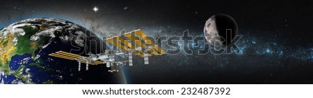 "Space station in orbit around Earth against milky way.""Elements of this image furnished by NASA  - stock photo"