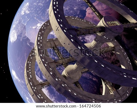 "Space station in outer space..""Elements of this image furnished by NASA"" - stock photo"