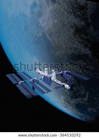 "Space Station in space against the background of the Earth. ""Elemen ts of this image furnished by NASA"""