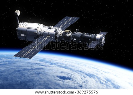 Space Station Orbiting Earth. 3D Scene. (NASA IMAGES NOT USED) - stock photo