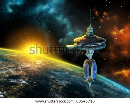 Space station over a gorgeous space panorama. Digital illustration. - stock photo
