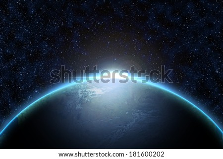 Space sunrise, good morning world! Elements of this image furnished by NASA - stock photo