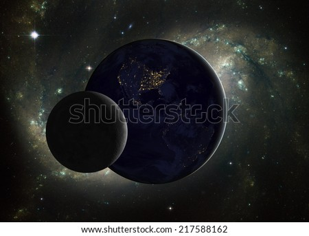 Space sunrise, good morning world! Elements of this image furnished by NASA.  - stock photo