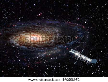 Space Telescope around the Galaxy.Elements of this image furnished by NASA. - stock photo