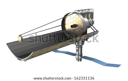 Space telescope ower white. My own design. - stock photo