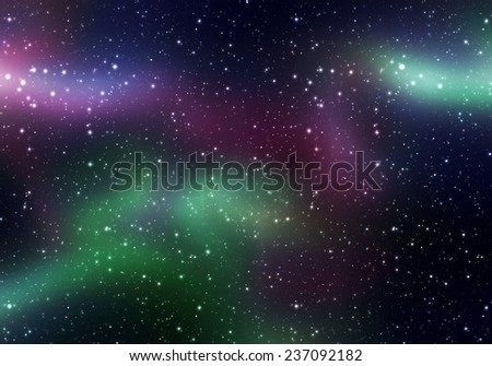Space texture with many stars and colorful glowing fog. - stock photo