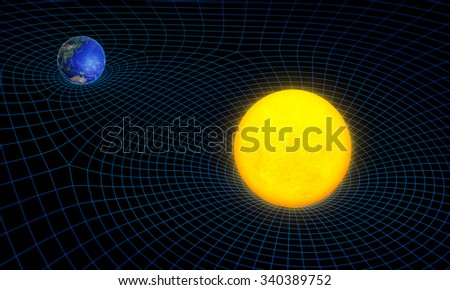 Space time continuum curvature and gravity concept - stock photo
