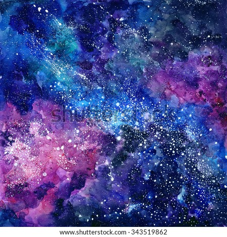Space / universe hand painted watercolor background. Outer universe. Texture with stars. Abstract background