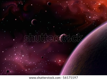 Space view near a big purple planet with several moons - stock photo