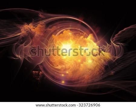 Space Vortex series. Composition of translucent vortex, fractal elements, lights and textures with metaphorical relationship to science, technology and design - stock photo