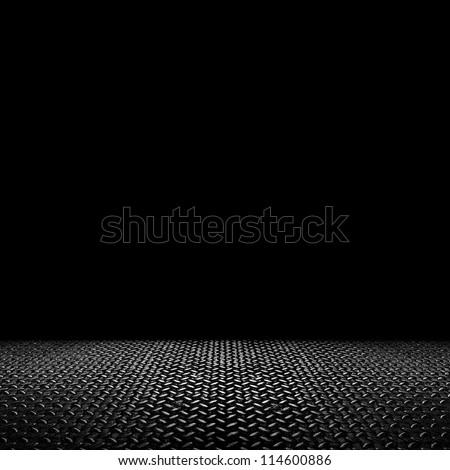 space with metal floor - stock photo