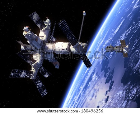 Spacecraft And Space Station. 3D Scene. Elements of this image furnished by NASA.