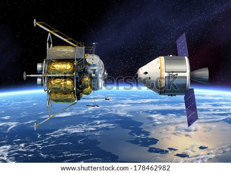 Spacecraft Docking. 3D Scene. Elements of this image furnished by NASA.  - stock photo