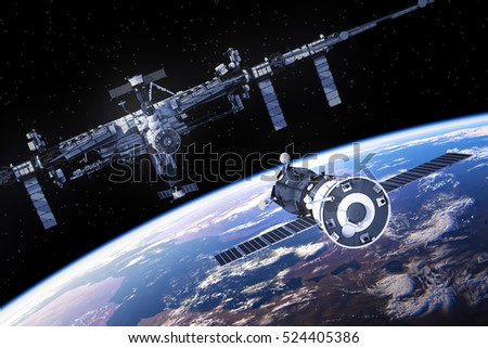 Spacecraft Is Preparing To Dock With International Space Station. 3D Illustration.