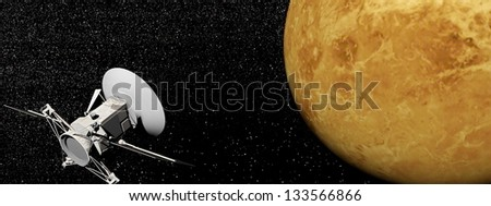 spacecraft near Venus planet by night - Elements of this image furnished by NASA - stock photo