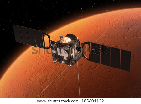 Spacecraft Orbiting Red Planet. 3D Scene. Elements of this image furnished by NASA.  - stock photo