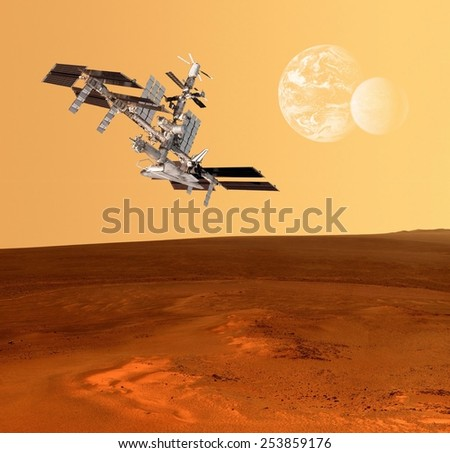 Spacecraft planets Mars spaceship satellite space station. Elements of this image furnished by NASA. - stock photo