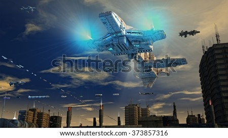 Spaceship alien UFO - stock photo
